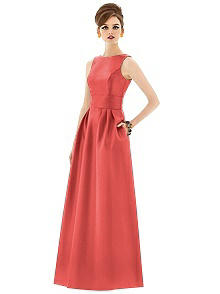 Alfred Sung Open Back Sateen Twill Gown D661