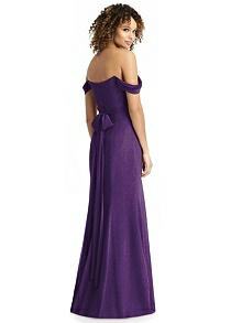 Shimmer Off-the-Shoulder Gown with Sash