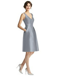 V-Neck Sateen Cocktail Dress with Pockets