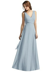 Layla Wrap V-Neck Chiffon Gown