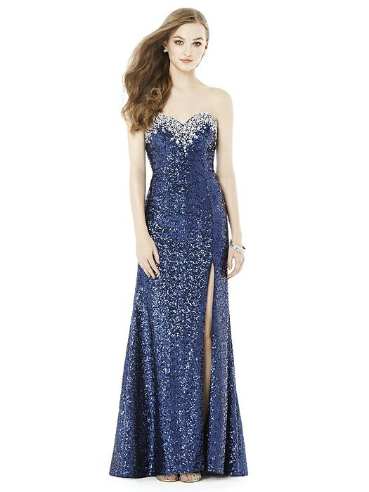 Blue long sequin prom dresses