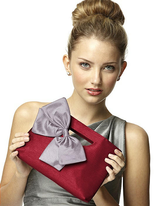 Dupioni Clutch with Interchangeable Bow