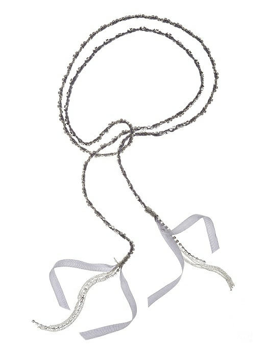 Rhinestone and Ribbon Woven Lariat