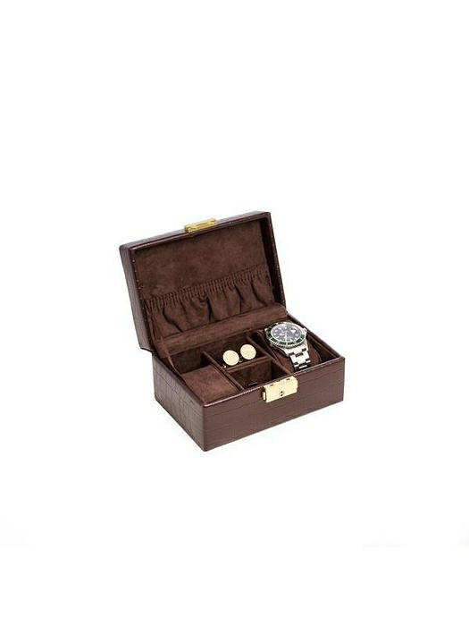 "Brown ""Croco"" Leather 2 Watch, Cufflink and Accessories Box"