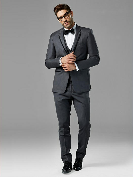 Charcoal Gray Notch Lapel Tux
