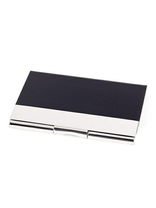 Pocket Business Card Holder, Black/Silver Plated, T.P.