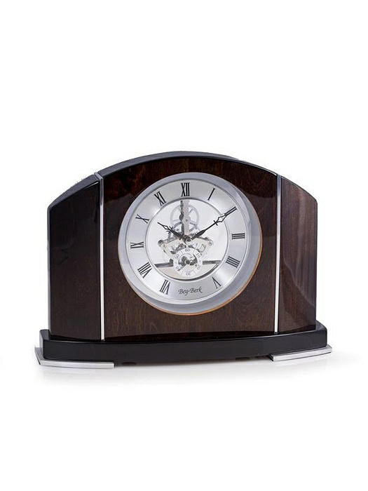 """Cairo"" Clock, Piano Finish Walnut Wood w/ Skelton Movement, T.P."