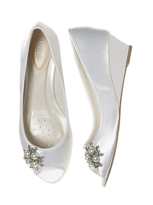 Frosting Dyeable Satin Bridal Wedge