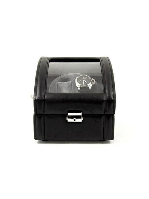 Black Leather 2 Watch Winder With Glass Top and Locking Clasp