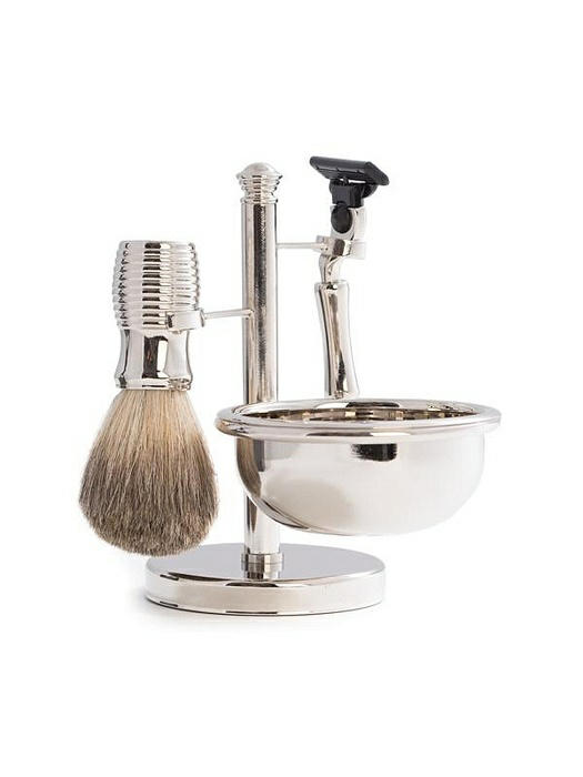 """Mach 3"" Razor & Pure Badger Brush with Soap Dish on Chrome Stand"
