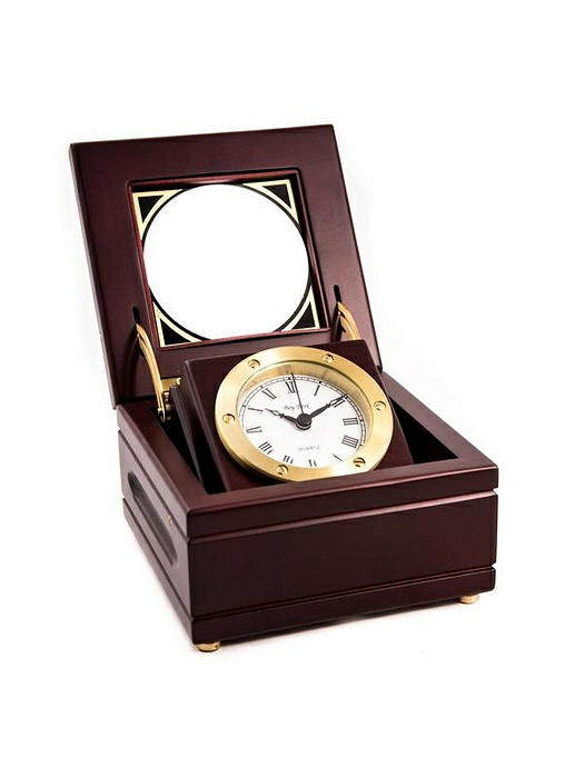 Solid Brass Gimbal Clock in Mahogany Box, T.P.