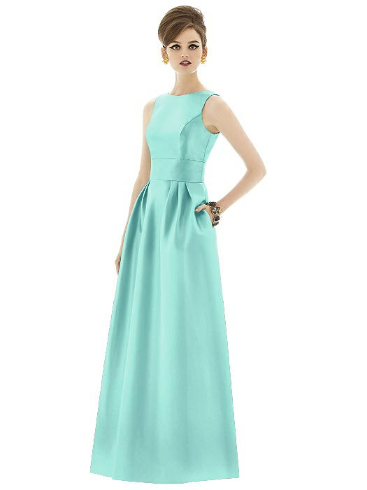 Alfred Sung Open Back Sateen Twill Gown D661 - Closeout