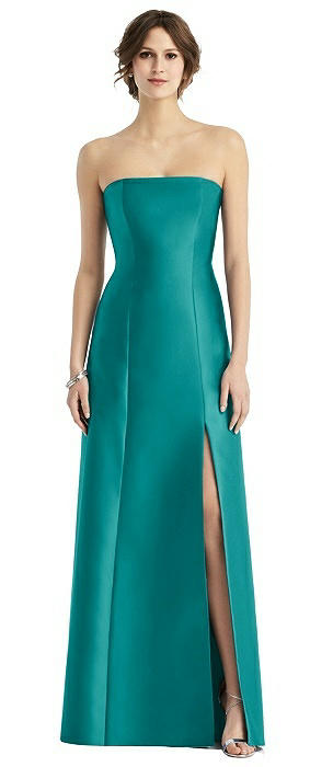 2d3e6a78f74 D764. jade. Full length strapless sateen twill dress. Modified trumpet  skirt with ...