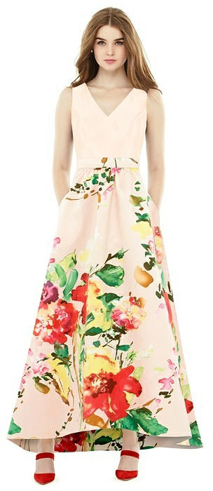 Alfred Sung Floral V-Neck High Low Gown D723CP