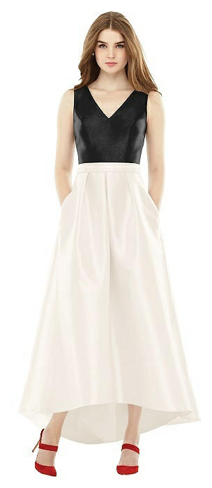 Alfred Sung V-Neck High Low Bridesmaid Dress D723