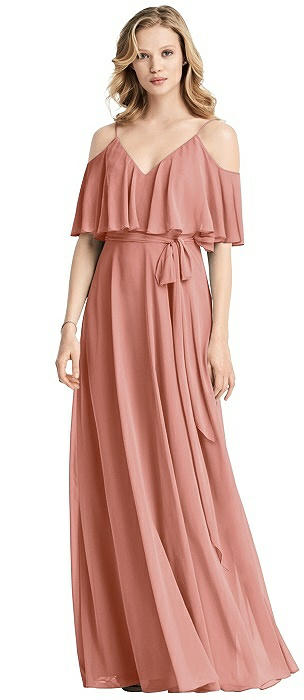 Chiffon V-Neckline Ruffle Dress