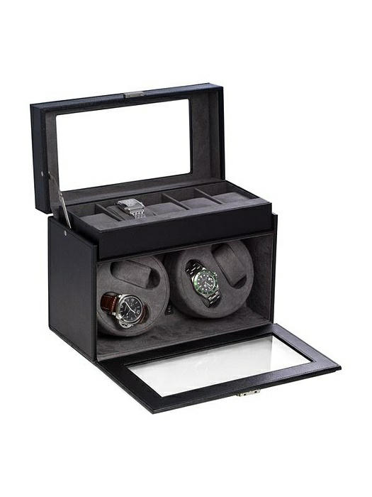 Black Leather 4-Watch Winder & 5-Watch Storage Case with Locking Clasp