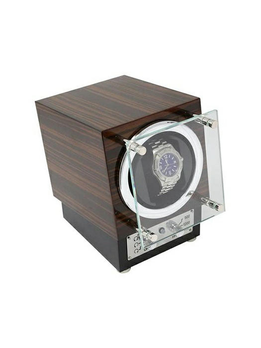 """Ebony"" Burlwood Watch Winder with Glass Door"