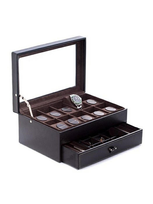 Black Leather 10-Watch Case with Glass Top