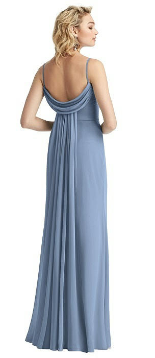 Chiffon Cowl-Back Trumpet Gown