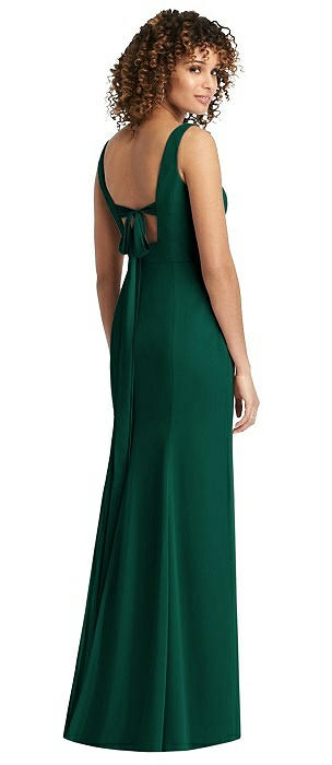 V-Neck Chiffon Trumpet Dress with Back Tie