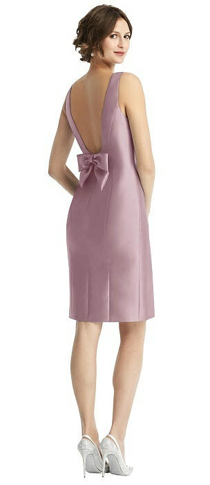 Open-Back Sateen Cocktail Dress with Bow