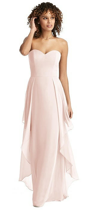 Strapless Chiffon Gown with Skirt Overlay
