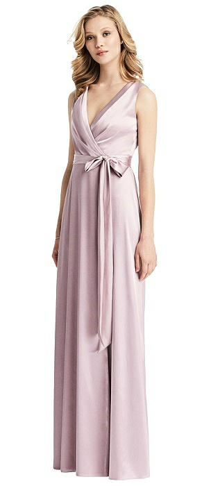 V-Neck Wrap Skirt Stretch Gown with Sash
