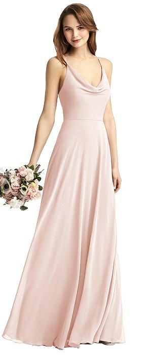 Quinn Cowl-Neck Chiffon Gown with Criss Cross Back