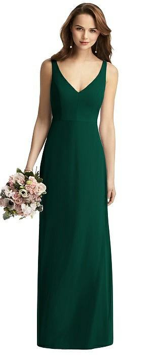 Peyton Long V-Back Chiffon Trumpet Dress