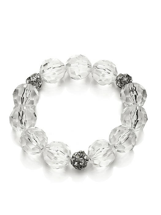Faceted Clear Resin Bauble Bracelet On Sale