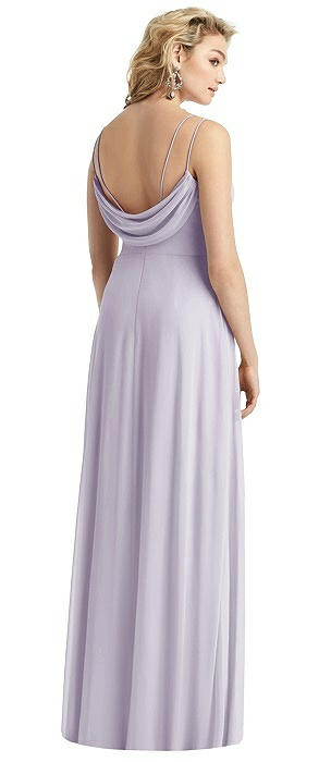 Double-Strap Cowl-Back Chiffon Gown with Side Slit