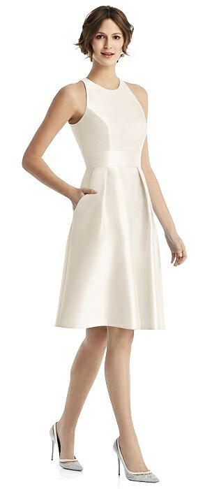 Sateen Halter Cocktail Dress with Pockets