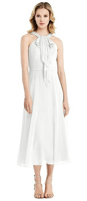 Chiffon Ruffle Halter Midi Dress
