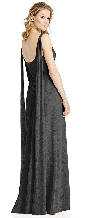 V-Neck Shimmer Gown with Streamer at Back Strap