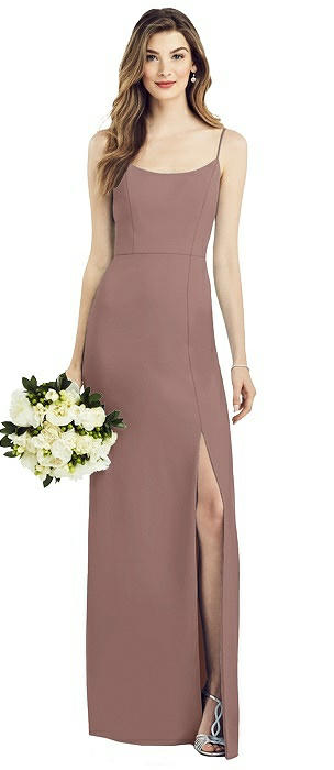 Blossom Alfred Sung Dessy Womens Full Length Sleeveless Sateen Twill Dress with Split Seam Detail Size 12